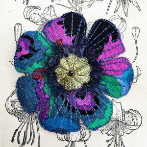 Sapphire-Green Poppy Flower Brooch (Detail)